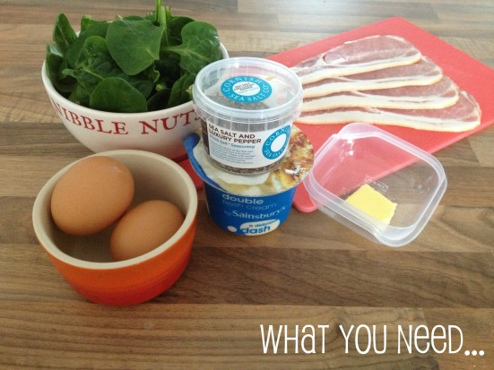 Sunday Brunch Baked Eggs Bacon Spinach Ingredients Recipe