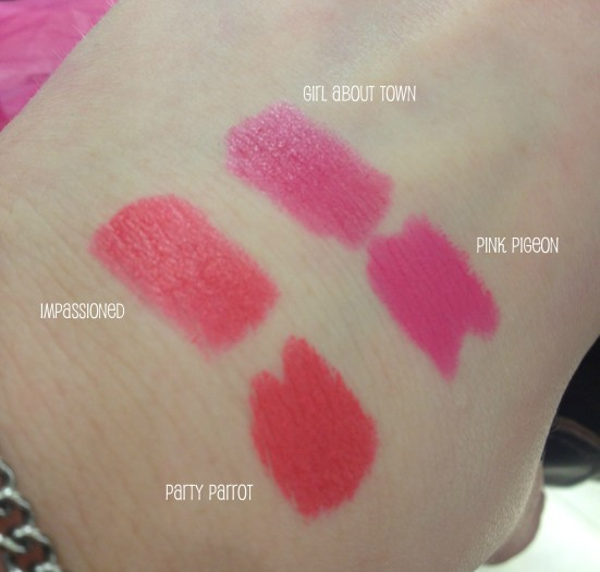 MAC Swatches Comparison Party Parrot Impassioned Girl About Town Pink Pigeon Lipstick